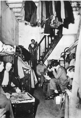 "Shanghai, China, Jewish refugees in one of the ""homes"" established in Shanghai to house those who succeeded in escaping from Europe via East Asia in the 1940s"