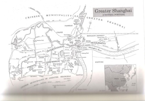 "Map of Shanghai during this period from ""Japanese, Nazis, and Jews: The Jewish Refugee Community of Shanghai 1938-1945"" by David Kranzler"